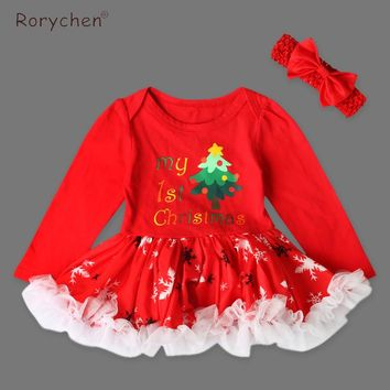 Autumn Rorychen Christmas Dresses 2017 Newborn Toddler Girl Clothes Ball Gown Christmas Tree Pattern Long Sleeves Princess Dress
