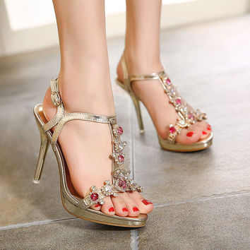 Summer Design Summer High Heel Rhinestone Sandals = 4814717380