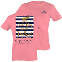 Simply Southern Preppy Gold Feathers Pink T-Shirt