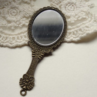 Floral Detailed Bronze Metal Stamped Hand Mirror Pendant Diy