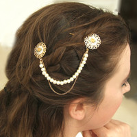 Pearl Gold Hair Pin, Pearl Hair Accessories, Bridal Hair pin, Wedding Hair Accessories