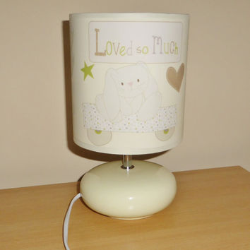 Handcrafted Loved so much bedside lamp / lamp shade & base ~ baby girl / boy bedroom / nursery