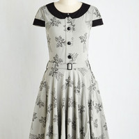 40s Mid-length Short Sleeves A-line Rule of Green Thumb Dress