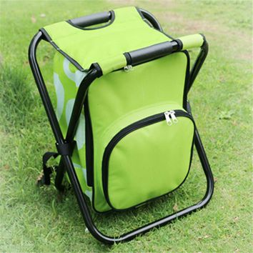 Foldable Outdoor Fishing Chairs with Cooler Bag Multifunctional 600D PVC Oxford Fishing Chairs Backpack Fishing Bag 36x31x44CM