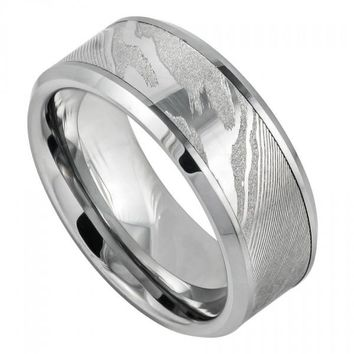 9mm Tungsten Wedding Band Laser Carved Wood Pattern/Mokume Gane Effect High Polished Low Beveled Edge