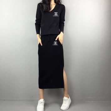 VONE05C Chanel' Women Casual Fashion Knit V-Neck Long Sleeve Drawstring Hem Split Maxi Dress