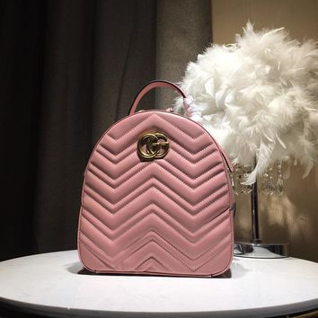 Kuyou Gb5988 Gucci Gg Marmont Pink Leather Backpack 476671 22.5x26x11cm
