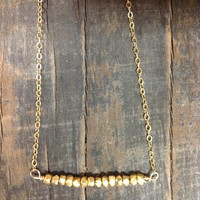 14K Gold filled Bar necklace/ Gold nuggets/ beaded bar / hobo jewelry / unique / dainty