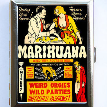 Vintage Marijuana Marihuana Poster Cigarette Case Wallet Business Card Holder pulp weird anti drug SUMMER SALE