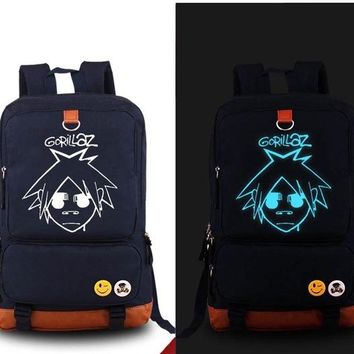 Student Backpack Children New Gorillaz Backpack Fashion Game Canvas Student Luminous Schoolbag Unisex Travel Bags AT_49_3