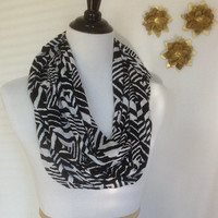 Black Tribal print Infinity scarf, Black and White Aztec scarf, jersey knit scarf, infinity scarf bridesmaid gift