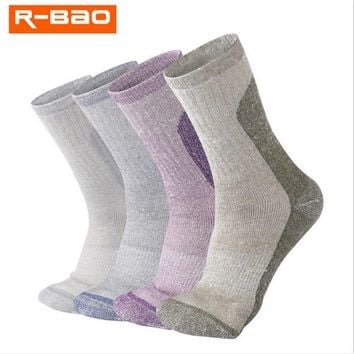 2 Pairs/lot R-BAO RB3308 Wool Outdoor Hiking Socks Men Women Sports Sock Warm Thick Spring Winter Fit to Size 35-39/39-43
