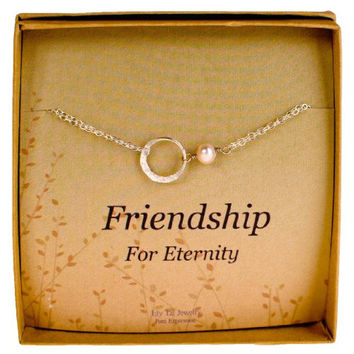 Friendship Bracelet, Sterling Silver Eternity Karma Circle with Cultured Pearl