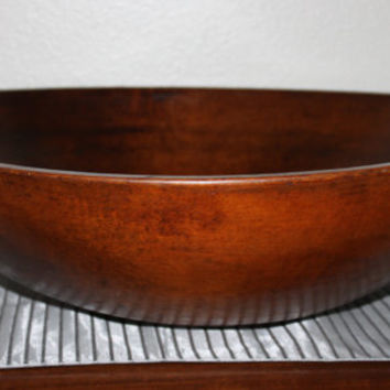 "Stunning 1800s Extra Large Wood Dough Bowl 21"" Solid Maple, Awesome Center Piece, Free Shipping"