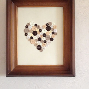 """11.2 """"X 12.8"""" Button Art Heart Art, the image of the buttons, buttons picture, heart button, button art, buttons,mother's day,gift for her"""