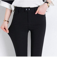 2016 Spring Summer Fashion Women Pants High Quality Plus Size S-3XL Slim Stretch Pencil Pants High Waist Trousers Pantalon Femme