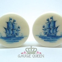 "Delft Ship Plugs / Gauges. 4g /5mm, 2g /6.5mm, 0g /8mm, 00g /10mm, 1/2"" /12.5mm, 9/16"" /14mm, 5/8"" /16mm, 3/4"" /19mm, 7/8"" /22mm, 1"" /25mm"