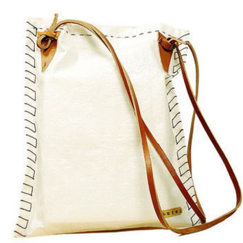White Raffia Messenger Bag With Leather