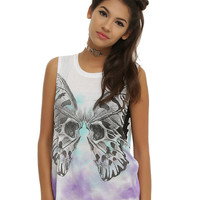Purple & Teal Butterfly Skull Girls Tank Top