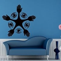 Wall Decals Hands and Eye Vision Decal Vinyl Decal Sticker Home Decor Bedroom Interior Window Decals Living Room Art Murals Chu1375
