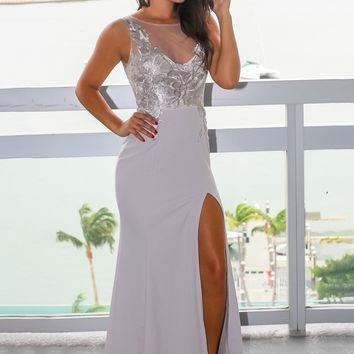 Light Gray Embroidered Top Maxi Dress with Side Slit