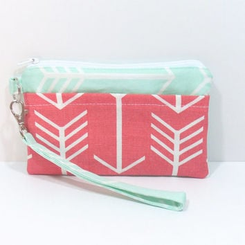 Mint and Coral Arrow Wristlet, Cell Phone Wallet, Custom Colors, Clutch Purse