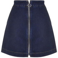 MOTO Zip Front A-Line Mini Skirt - Mid Stone