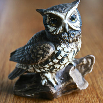 SPRING SALE Homco vintage porcelain owl figurine instant collection