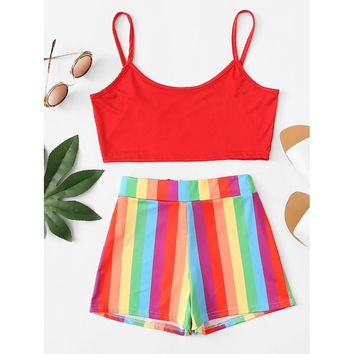 Crop Cami Top With Rainbow Striped Shorts