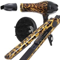 "Revlon 1"" Nano Ceramic Ionic Straightener Leopard Print Limited Edition RVST2101 and Revlon Limited Edition 1875W Ionic Nano Ceramic Turbo Dryer Leopard Print RVDR5106"