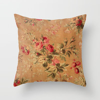 Vintage Floral Throw Pillow by digitaleffects