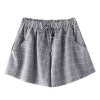 Light Grey Plaid Draw-String Shorts