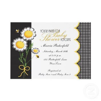 Daisies & Bumble Bee Baby Shower Invitation from Zazzle.com