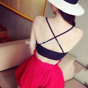 Sexy Women Girl Cross Back Bandage Wrapped Cami Tank Crop Top Chest Bra Strappy Bralette Blouse