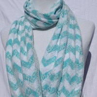 Lace Tiffany blue chevron Infinity scarf, Tiffany blue Chevrons Zig Zag, lace scarf, lace infinity scarf, bridesmaid gift