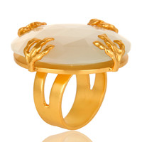 24K Yellow Gold Vermeil Brass Prong Set White Moonstone Cocktail Ring