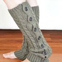 Boot Leg warmer in taupe, boot cuffs, knitted boot cuffs, button socks, boot socks, knee high socks, boot topper, accessories .. W02
