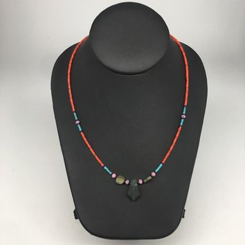 1 Necklace, Nephrite Jade & Red Coral Inlay Beaded Necklace Afghanistan, NPH118
