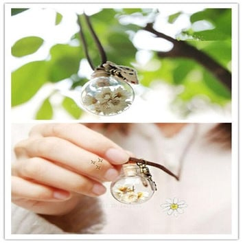 Creative Daisy dried flowers glass glass ball necklace sweater chain Korea vintage necklace (Color: Yellow) = 1946479684