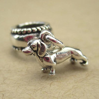 Dachshund charm sterling silver for European bracelets, Dachshund jewelry, doxie or pet dog memorial