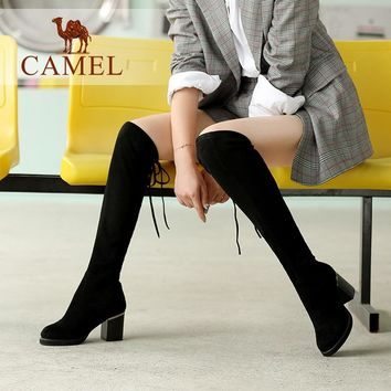 Above The Knee High Boots Stretch Fabric Long Thigh Boots