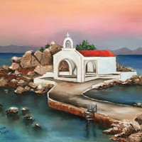 FREE SHIPPING Sunset At Saint Isidoros Church Chios Greece original oil pallet knife painting Mediterranean seascape art sunset home decor