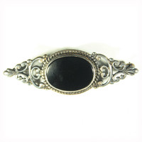 Sterling Pin, Victorian Revival, Black Glass Brooch, Black Silver Brooch, Sterling Jewelry, Sterling Brooch, Scrollwork, Lapel Pin