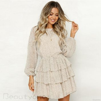 Women Sweet Long Sleeve Polka Dot Print Casual Cake Dress
