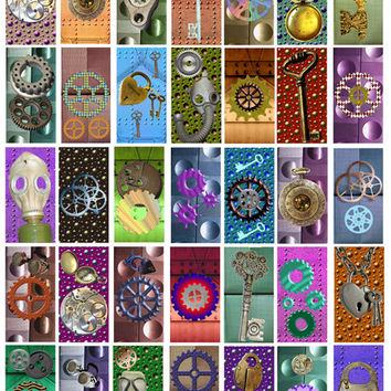 colored metals steampunk clip art digital image download collage sheet 1 BY 2 inch image graphics gears gas mask for pendants, pins, magnets