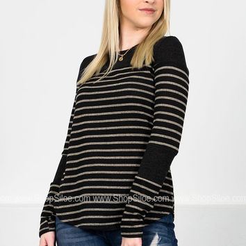 Charcoal Striped Harley Top