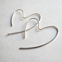 Sterling Silver Open Heart Hand Hammered Hoops
