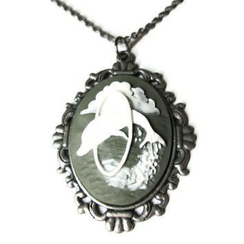 """Dolphin Cameo Necklace, 18"""" Antique Silver Toned Chain"""