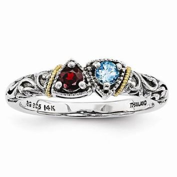 Sterling Silver & 14k Two-Stone Mother's Ring