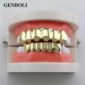 ESBONHS GENBOLI Gold-color Silver Plated Hiphop Hip Hop Teeth Grillz Caps Top & Bottom Teeth Grills Set + 2pcs Silicone Pad Body Jewelry
